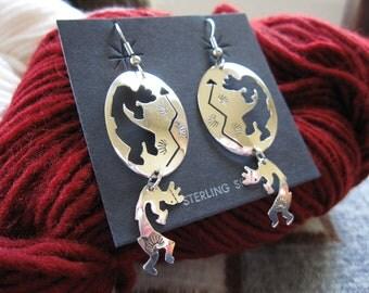 Sterling Silver Kokopelli Dangle Earrings