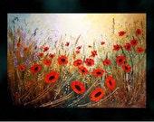 "Original Modern Large Painting.Oil.Palette Knife.Impasto.Floral.Poppies.Landscape 36"" x24"" Fine art - by Nata S."