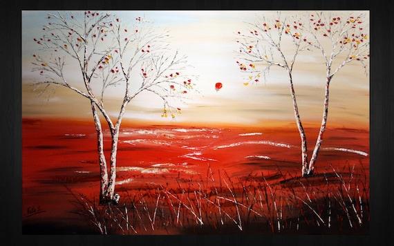 "Original Modern Large Art Painting.Palette Knife.Oil.Tree.Landscape.Birches.Trees.Art Deco.36"" x24"" Beige,White,Black,Red... - by Nata S."