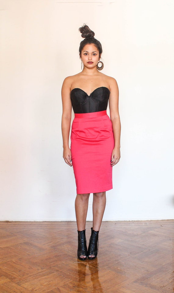 high waisted coral fitted pencil skirt s