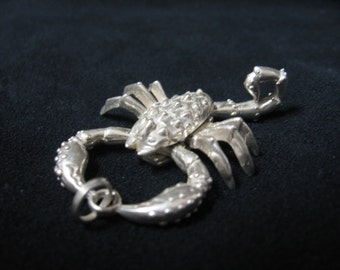 Scorpio Scorpion Silver Articulated Pendant
