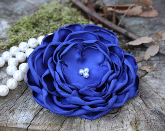 30 Colors Large Satin Flower Pin, Royal Blue Satin Flower Pin