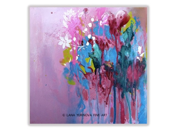 Original Pink  Abstract Painting - Modern Floral Painting on Gallery Wrapped Canvas - Affordable Gift