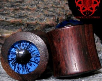 "1"" Blue Eye Sono Wood Ear Plugs, Handpainted Blue Eyes, Gauges Plugs, Eye Plugs, Blue Eye Plugs, Ear Gauges, Blue Eyes, Pierced Eye Design"