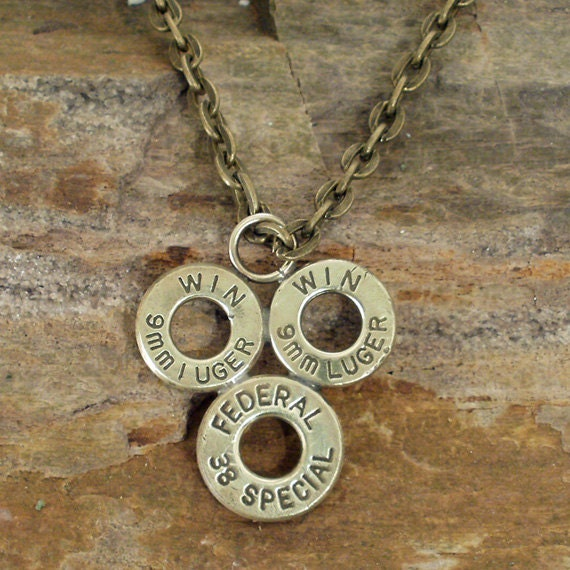 Bullet Casing Necklace - 9mm and 38 SPL