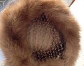 Brown fur vintage hat with netting headpiece