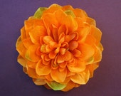 Large Orange Dahlia - Autumn Fabric Flower Hair Accessory: Pin, Hair Clip, or Fascinator