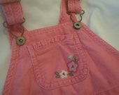 OshKosh B Gosh overalls size 18 months upcycled with flower appliques