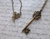 Beautiful Bronze skeleton key pendant on a 30 inch chain by GloriouslyCreatedGifts