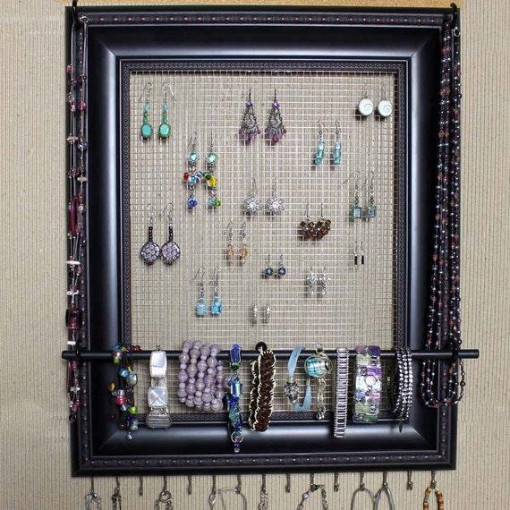 Custom Jewelry Display Frame: Jewelry Organizer Display Black Picture Frame By