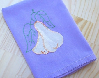 Mid Century Hand Stitched Linen  ~  Lavender with Yellow Pears Table Scarf  ~  Vintage Table Scarf