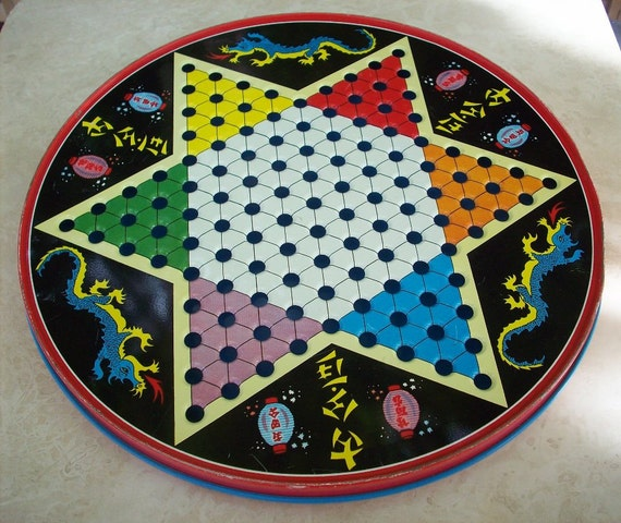 Vintage Chinese Checkers Game Board Metal By Nenafayesattic
