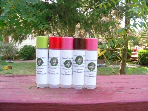 New and Improved 5-piece Natural Tinted Flavor Lipbalm/Chapstick. Choose Your Scent. Made To Order.