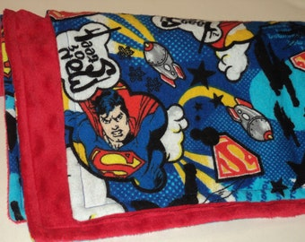 """Superman Baby Blanket - Security  Blanket - 19"""" X 23"""" Lovey - Superhero Baby Blanket - Baby Gift - Superhero Baby Shower - Made To Order"""