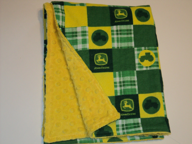John Deere Baby Security Blanket With Yellow Or Green Minky
