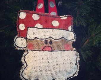 Santa Christmas Ornament- Burlap Christmas ornament, Christmas, Ornamnets, Personalized Ornaments