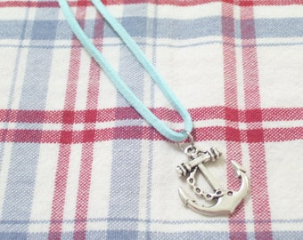 Antiqued Silver Ship Anchor and Aqua Faux Suede Nautical Necklace