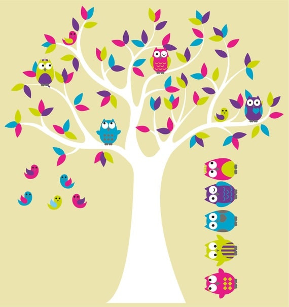 Kids Tree with 4 owls 7 birds and set of 5 FREE owls nursery vinyl wall decal