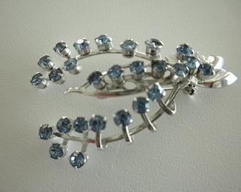 Blue Rhinestone Brooch Pin Silver Tone c1960s