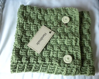 Neckwarmer Crochet Scarf  Green