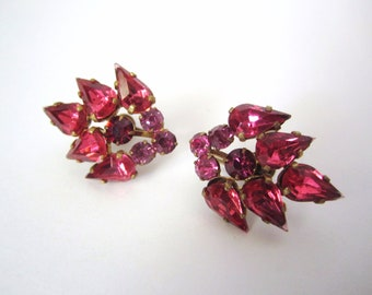 Gorgeous 1940s Czechoslovakian Pink Crystal Screwback Earrings made in and stamped Czecholslav