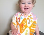 toddler bib forest in pink baby orange whimsical trees