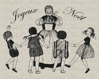 French Christmas Joyeux Noel Children Sing Holiday Decor Printable Digital Download for Fabric Iron on Transfer Tote Pillow Tea Towel DT353