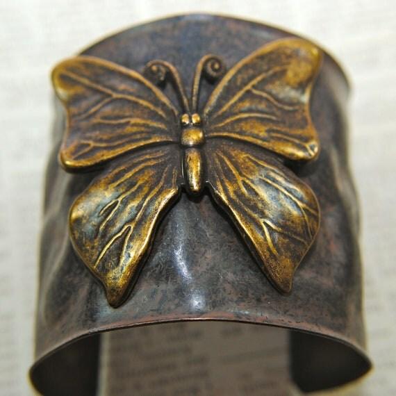 Vintage Brass Butterfly Cuff Bracelet, Hammered Vintage Bronze