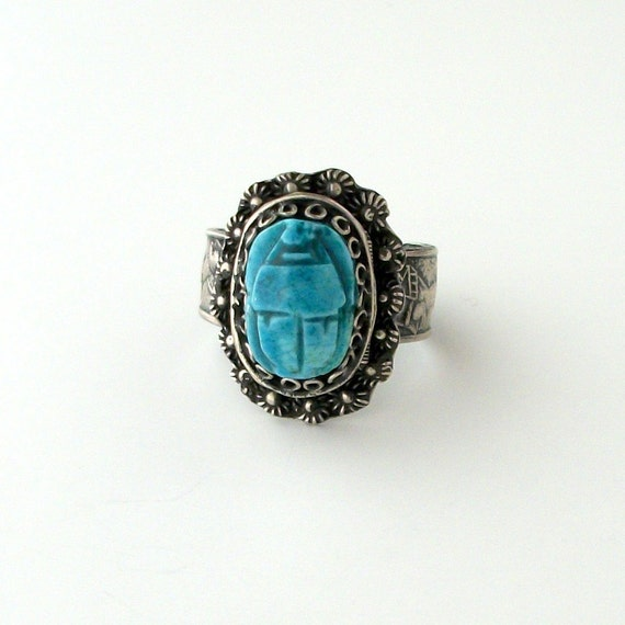 Egyptian scarab poison ring turquoise faience sterling for Faience turquoise