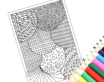Abstract Art Coloring Pattern, Zentangle Inspired Printable Coloring Page, Page 23