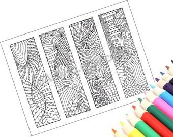 DIY Zentangle Inspired Bookmarks, Zendoodle Printable Coloring, Digital Download, Sheet 4