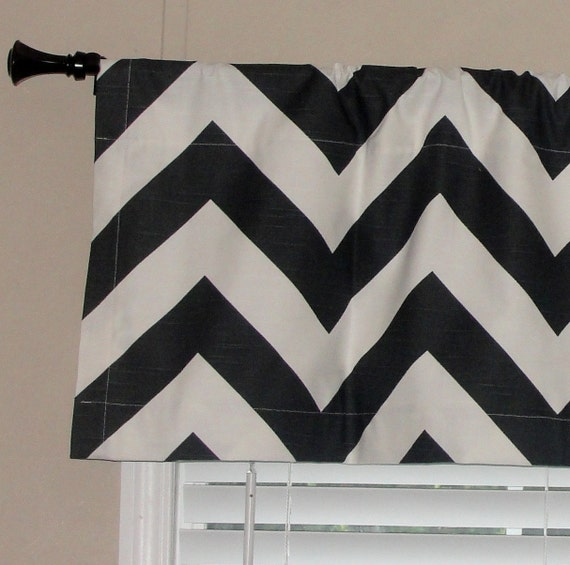 """Premier Prints Charcoal Dark Gray Chevron Valance 52"""" wide x 16"""" long Big Zig Zags Lined with Cotton Muslin White"""