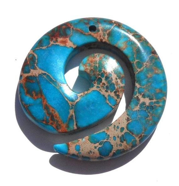 Beautiful Turquoise Magnesite Stone Swirl Focal Pendant