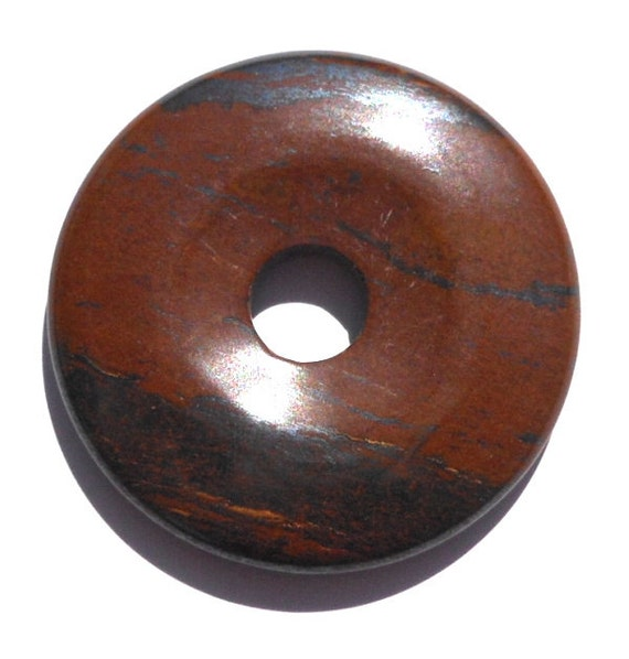 40mm Natural Tiger Iron Stone Donut Pendant Brown