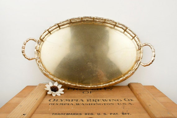 vintage brass faux bamboo medium tray