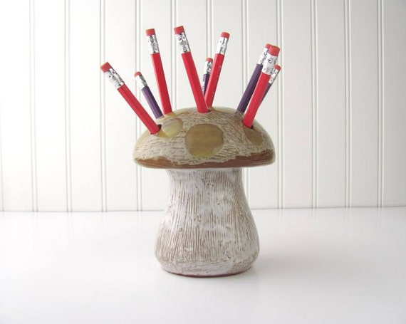 Mushroom Pencil Holder Ceramic Made in Japan Vintage Mod