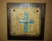 Wood, Burlap and Corrugated Metal Cross Wall Hanging