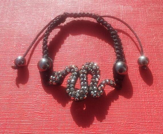 Beautiful Silver, Black Snake Crystal Spooky Bangle Bracelet