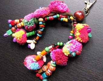 Key Chain Zip Pull Pom Pom Bag Accessory Decoration Handmade by HMONG Tribe Thailand (ACC001)