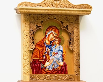 Wall Art, Wood Carving, Virgin Mary and Jesus, Orthodox, Christian, Religious Icon, Byzantine, Home iconostasis, MariyaArts