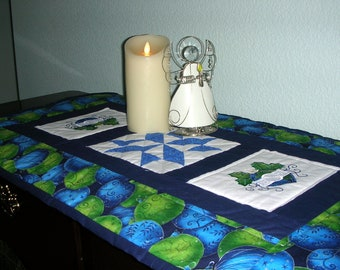 Beautiful Blue, Green and White Christmas Print Table Runner with Appliqued Christmas Bulbs