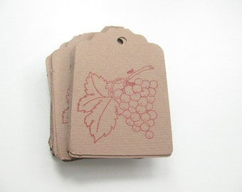 Package - Set of 20 Tags - Grapes - Cardboard - Perforated - Stamp - Decor for package