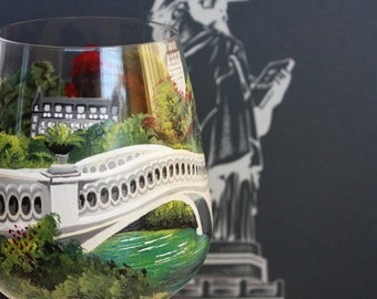 Bow Bridge - Central Park, New York - NY- Hand Painted Wine Glass