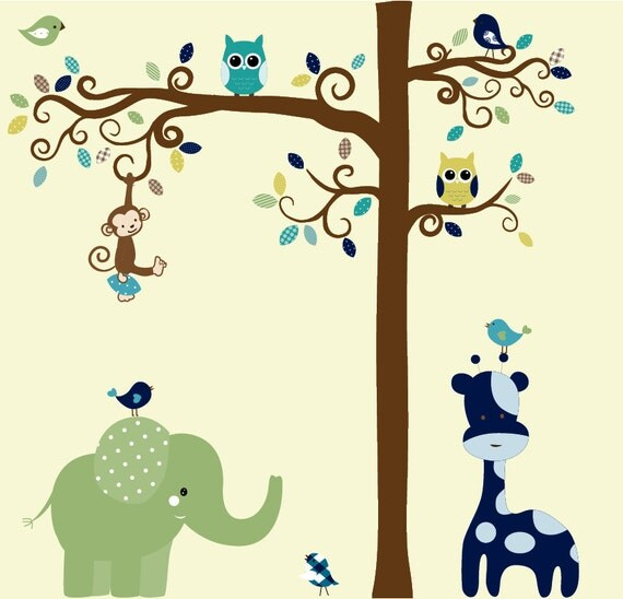 Jungle wall decal tree set - patterned vinyl wall decal - Custom listing for A.