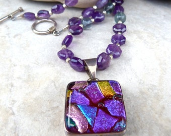 Purple Dichroic Glass Pendant - Faceted Amethyst Necklace - Blue Green Fluorite One of a Kind Artisan Necklace