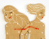 Girls lesbian gay couple articulated paper dolls paper puppet unique and unusual gift valentines present kraft paper decoration lgtb love