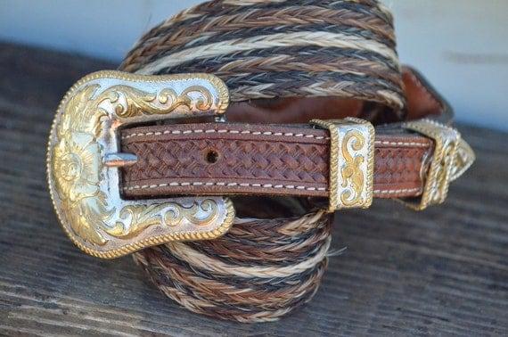 80's Western Cattlemen's Horse Hair Ranger Set Belt