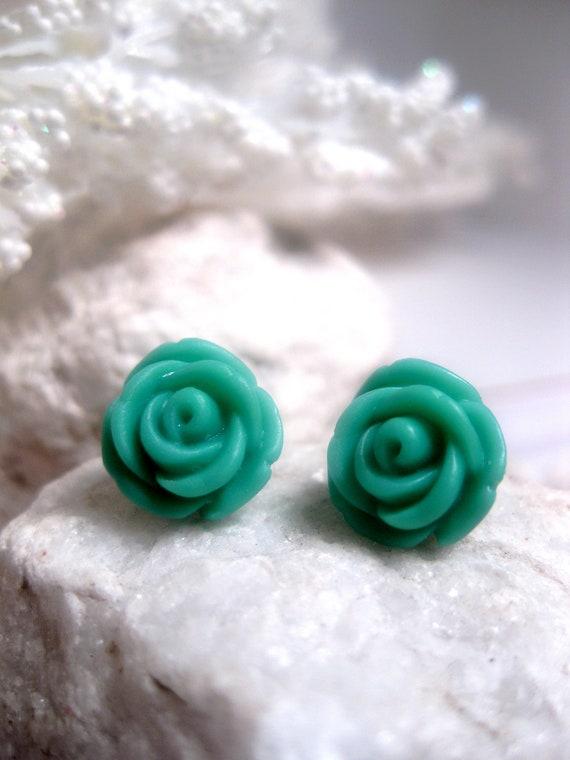 Pretty Teal Rose Post Earrings