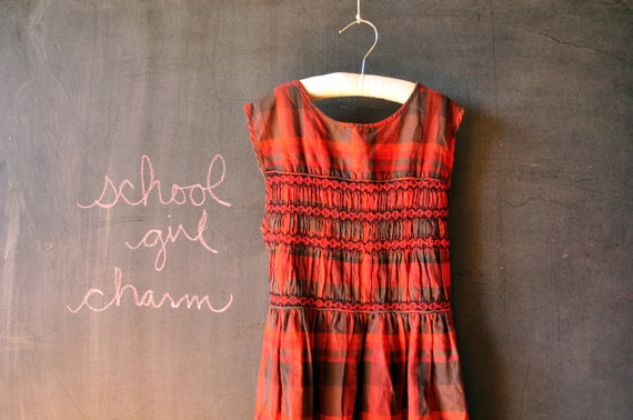 1950's school girl red and black plaid smocked sleeveless little girls dress, size 8 10 12