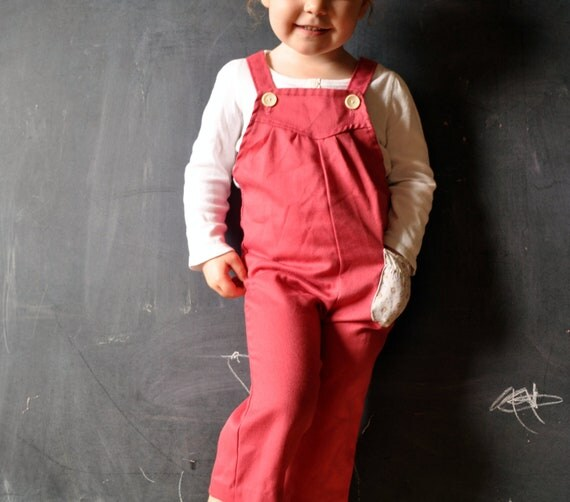 Raspberry sorbet overalls, with cream floral pocket on left hip, size 2t toddler